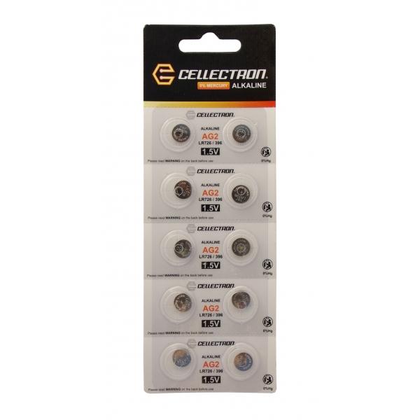AG2 10 alkaline knapcelle batteri AG2 / LR726 / 396 1,5V Cellectron