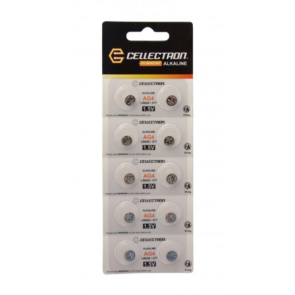 AG4 10 alkaline knapcelle batteri AG4 / LR626 / 377 1,5V Cellectron