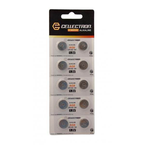 AG8 10 alkaline knapcelle batteri AG8 / LR1120 / 391 1,5V Cellectron