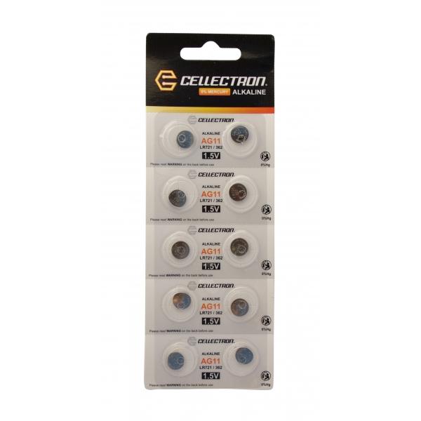 AG11 10 alkaline knapcelle batteri AG11 / LR721 / 362 1,5V Cellectron