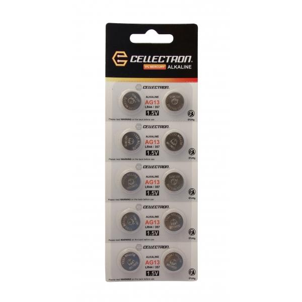 AG13 10 alkaline knapcelle batteri AG13 / LR44 / 357 1,5V Cellectron