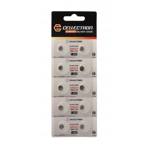 SR521 10 knapcelle batteri sølv oxide SR521 / SR63 / 379 1,55V Cellectron
