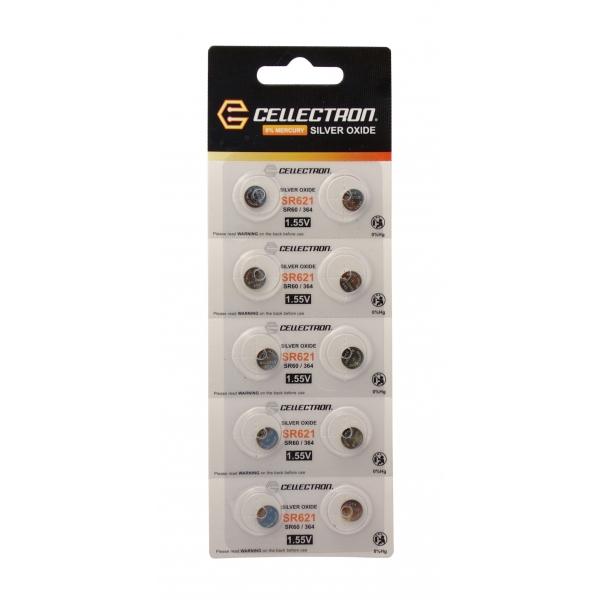 SR621 10 knapcelle batteri sølv oxide SR621 / SR60 / 364 1,55V Cellectron