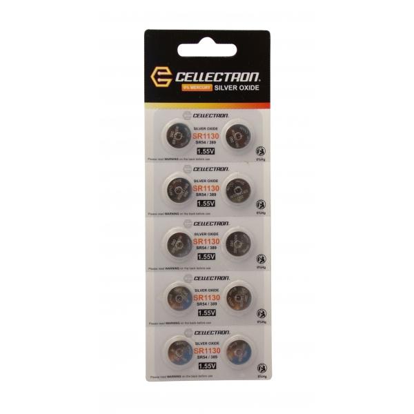 SR1130 10 knapcelle batteri sølv oxide SR1130/SR54 / 389 1,55V Cellectron