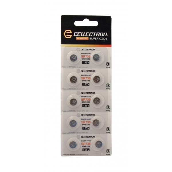 SR736 10 knapcelle batteri sølv oxide SR736 / SR41/392 / 1,55V Cellectron