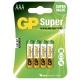 4 x AAA / LR03  Alkaline batteri - 1,5V - GP Battery