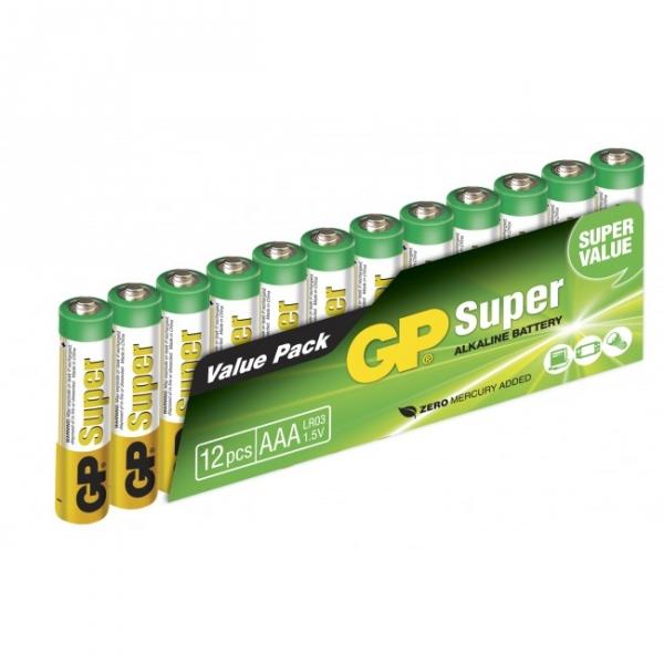 12 x AAA / LR03 SUPER - Alkaline batteri - 1,5V - GP Battery