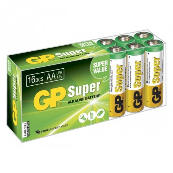 16 x AA / LR6 SUPER - Alkaline batteri - 1,5V - GP Battery
