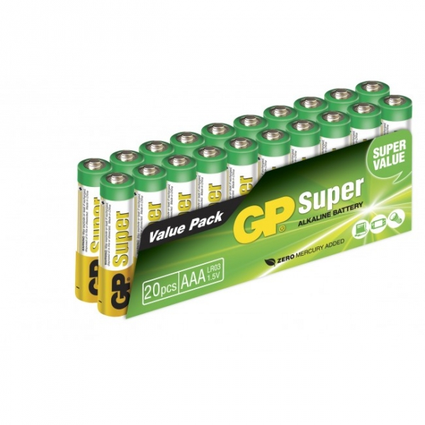 20 x AAA / LR03 SUPER - Alkaline batteri - 1,5V - GP Battery