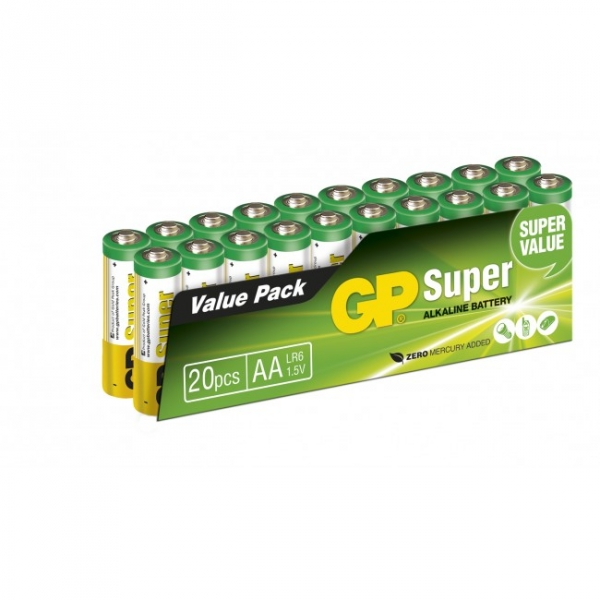 20 x AA / LR6 SUPER - Alkaline batteri - 1,5V - GP Battery