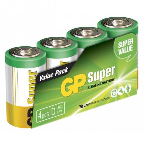 4 x D / LR20 SUPER - Alkaline batteri - 1,5V - GP Battery