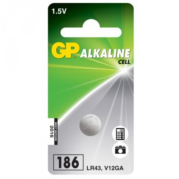 1 x GP 186 / LR43 / V12GA Alkaline knapcelle batteri - 1,5V - GP Battery