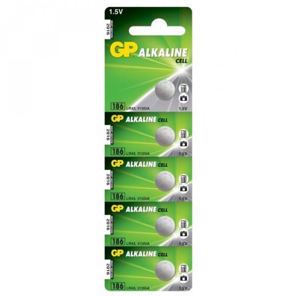 5 x GP 186 / LR43 / V12GA Alkaline knapcelle batteri - 1,5V - GP Battery