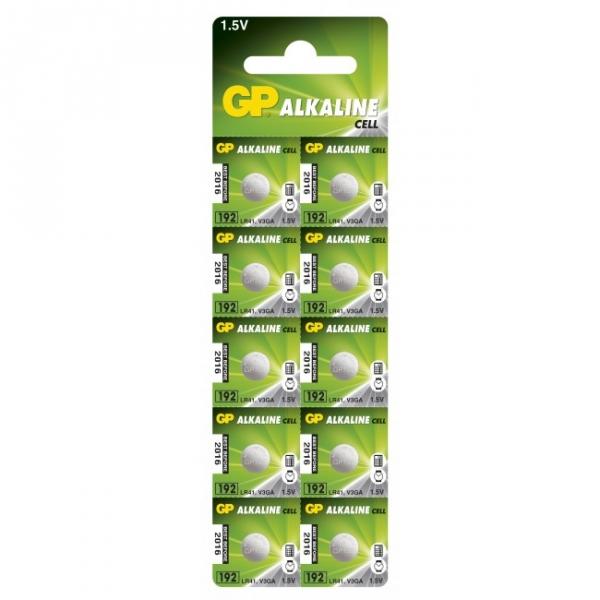 10 x GP 192 / LR41 / V3GA / Alkaline knapcelle batteri - 1,5V - GP Battery