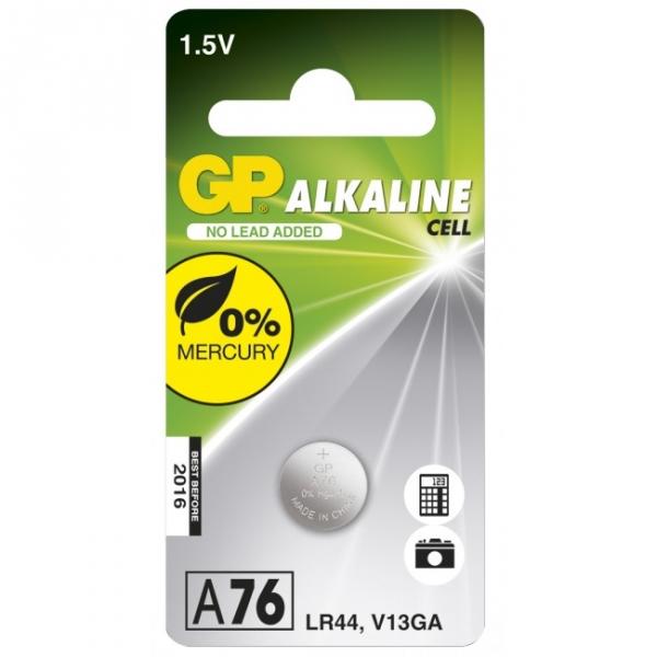 Alkaline knapcelle batteri GP A76 / LR44 / V13GA - 1,5V - GP Battery