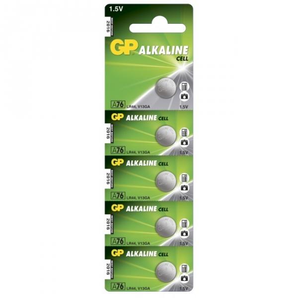 Alkaline knapcelle batteri 5 x GP A76 / LR44 / V13GA - 1,5V - GP Battery